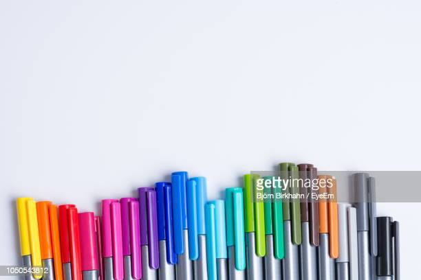close-up of colorful felt tip pens against white background - felt tip pen stock pictures, royalty-free photos & images