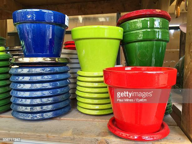 Close-Up Of Colorful Flower Pots