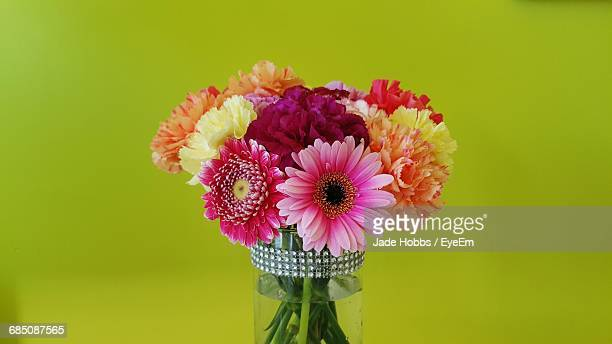 close-up of colorful flowers in vase against green background - gerbera stock pictures, royalty-free photos & images