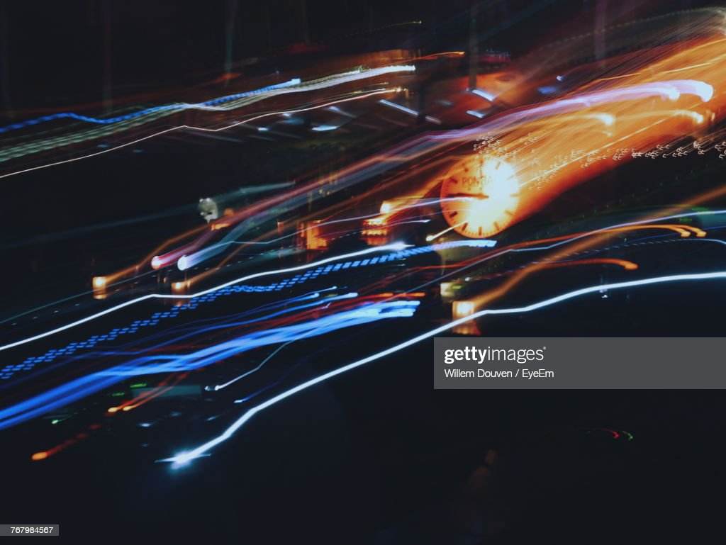 Close-Up Of Colorful Light Trails At Night : Stock Photo