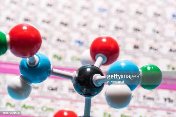 close-up of colorful molecules model - átomo fotografías e imágenes de stock