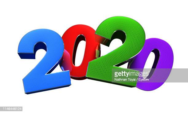 close-up of colorful numbers against white background - event icon set stock photos and pictures