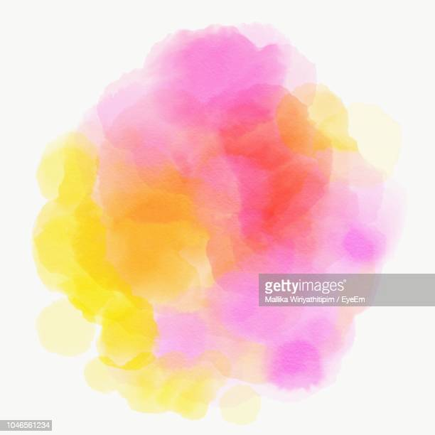 close-up of colorful paints against white background - wasserfarbe stock-fotos und bilder