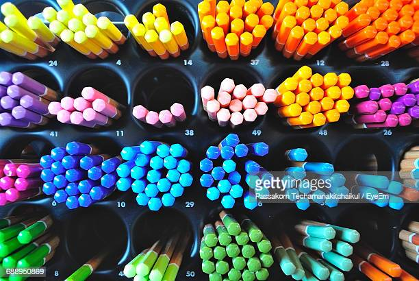 Close-Up Of Colorful Pencils On Rack For Sale