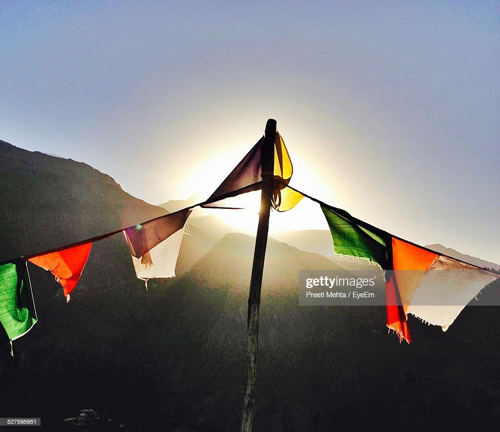 Close-Up Of Colorful Prayer Flags Against Clear Sky : Stock Photo