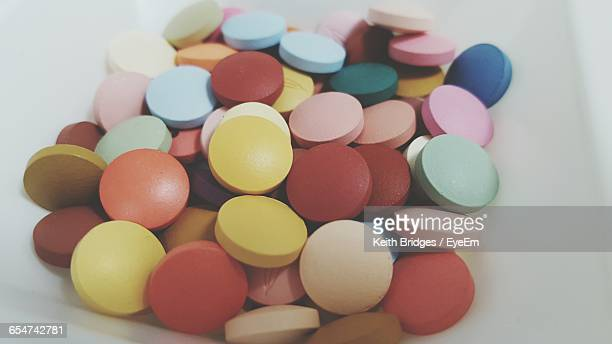 Close-Up Of Colorful Round Pills