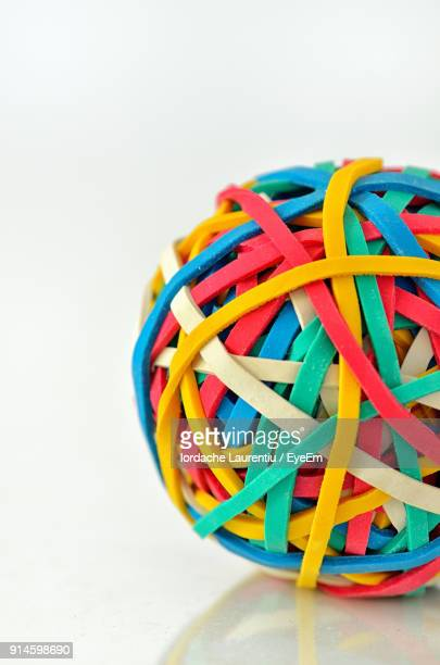 Close-Up Of Colorful Rubber Ball On Table
