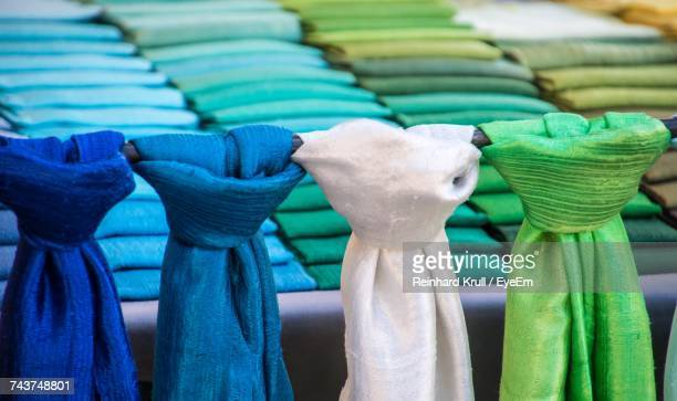 close-up of colorful scarf at market stall - eyeem collection stock photos and pictures