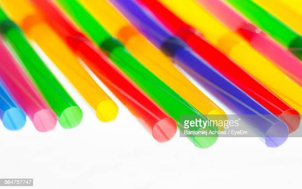 Close-Up Of Colorful Straw Pipe