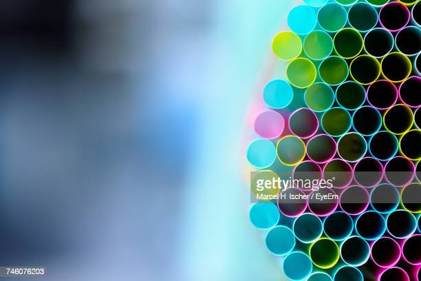 Close-Up Of Colorful Straws For Sale In Store