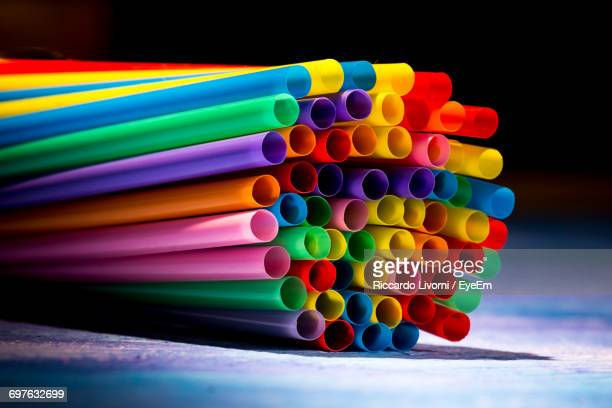 Close-Up Of Colorful Straws
