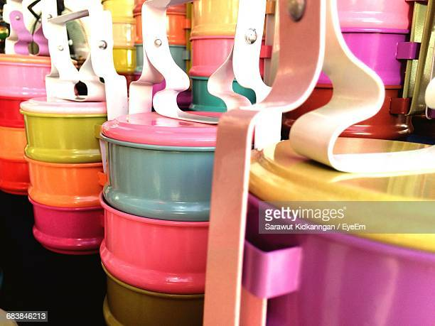 Close-Up Of Colorful Tiffin At Store