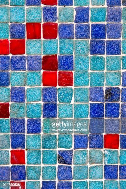 close-up of colorful tiles on a house in lisbon - エウロパ ストックフォトと画像