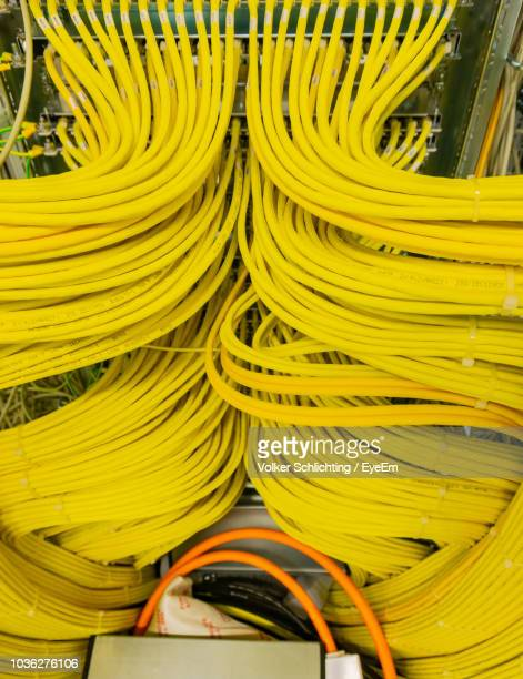close-up of computer cables - data stream stock photos and pictures