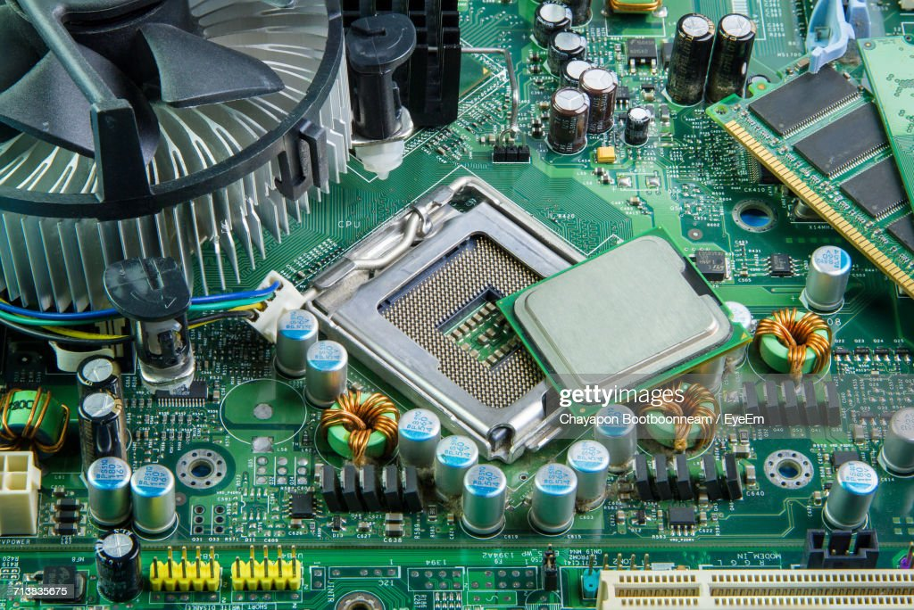 Close-Up Of Computer Mother Board : Stock Photo