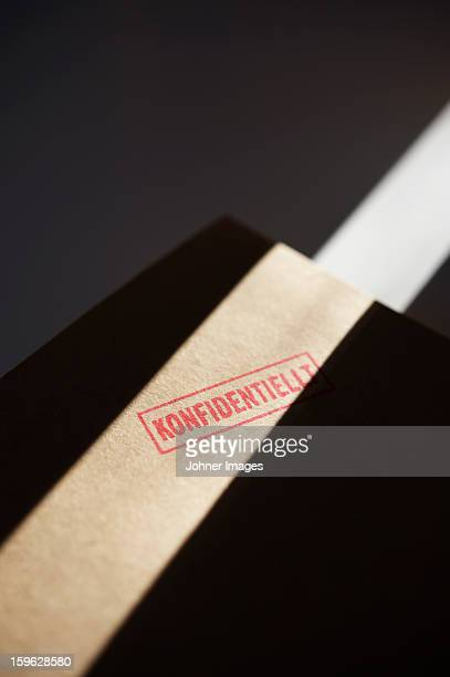 Close-up of confidential documents