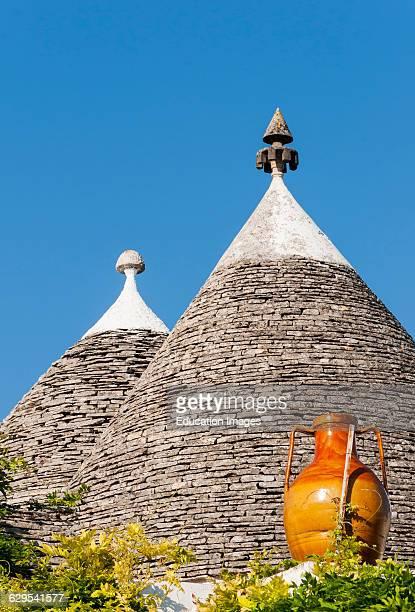 Closeup of Conical Roofs Alberobello Trulli Puglia Italy