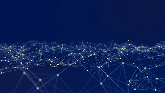 Close-Up Of Connecting Dots Against Blue Background - gettyimageskorea