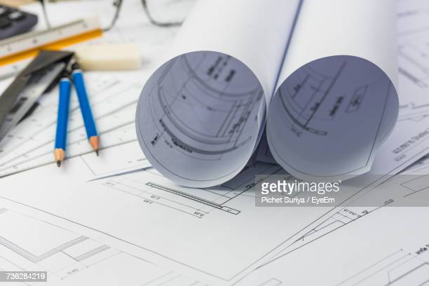 Close-Up Of Construction Blueprint  On Table