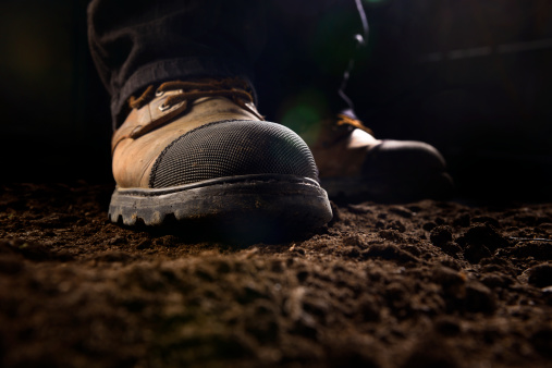Close-up of construction work boots 172389541
