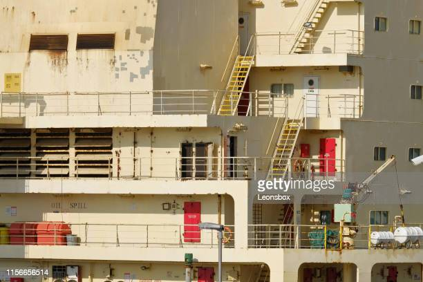 close-up of container ship - koper stock photos and pictures