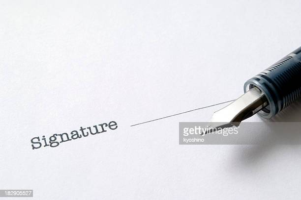 close-up of contract form with fountain pen - permission concept stock pictures, royalty-free photos & images