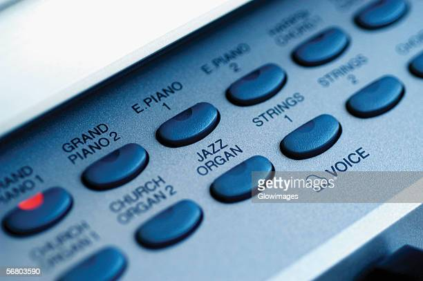 close-up of control buttons on electric piano - keyboard instrument stock photos and pictures