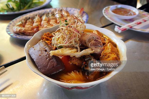 close-up of cooked pork in bowl - phnom penh stock pictures, royalty-free photos & images