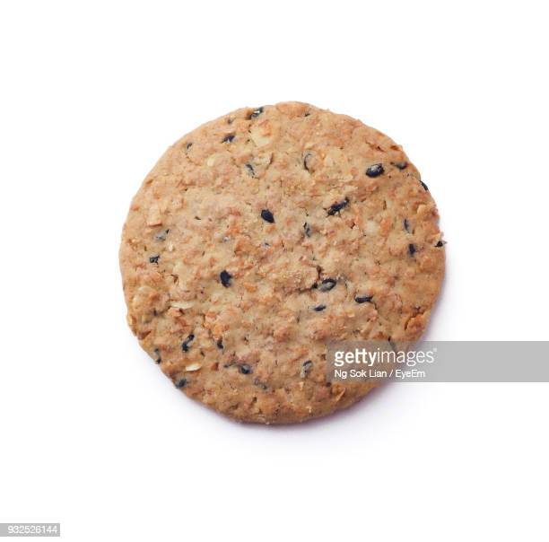 Close-Up Of Cookie Against White Background