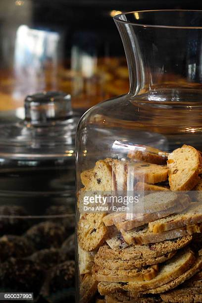 Close-Up Of Cookies In Glass Jar