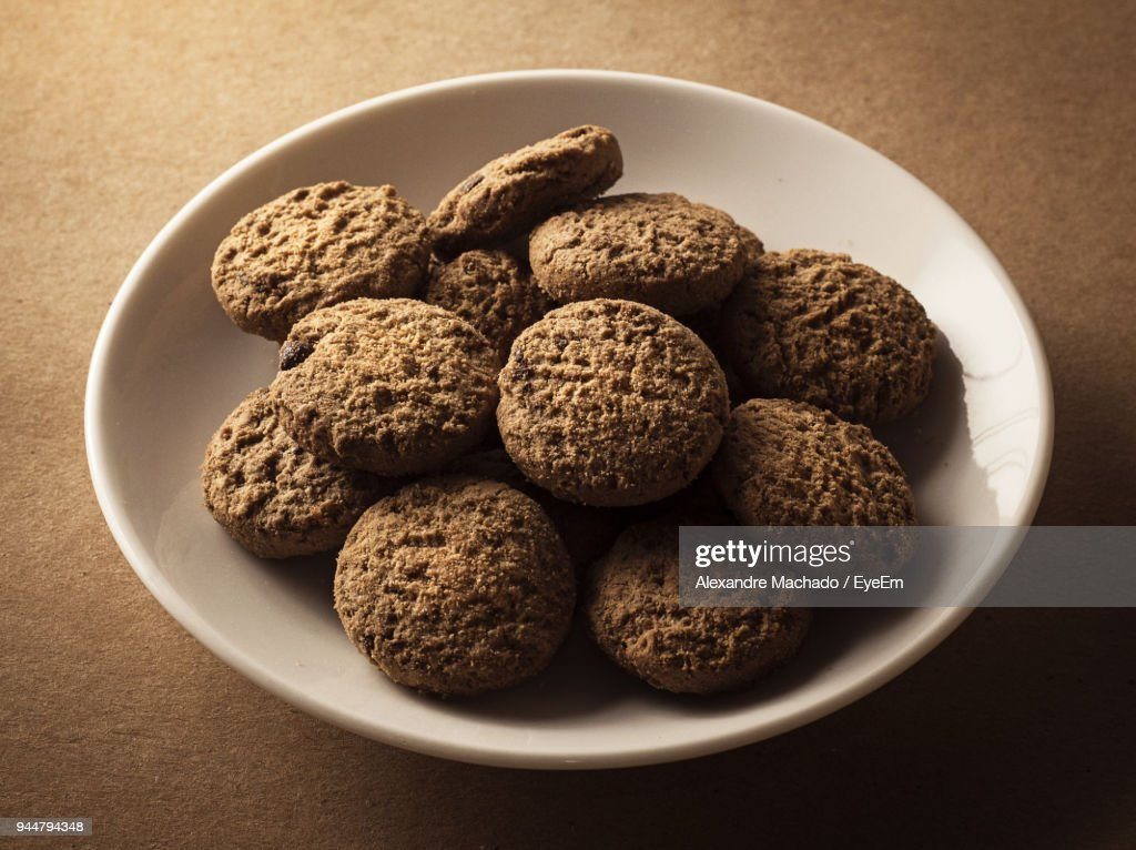 Close-Up Of Cookies In Plate : Stock Photo