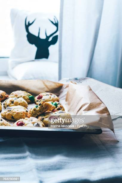 Close-Up Of Cookies In Tray On Table