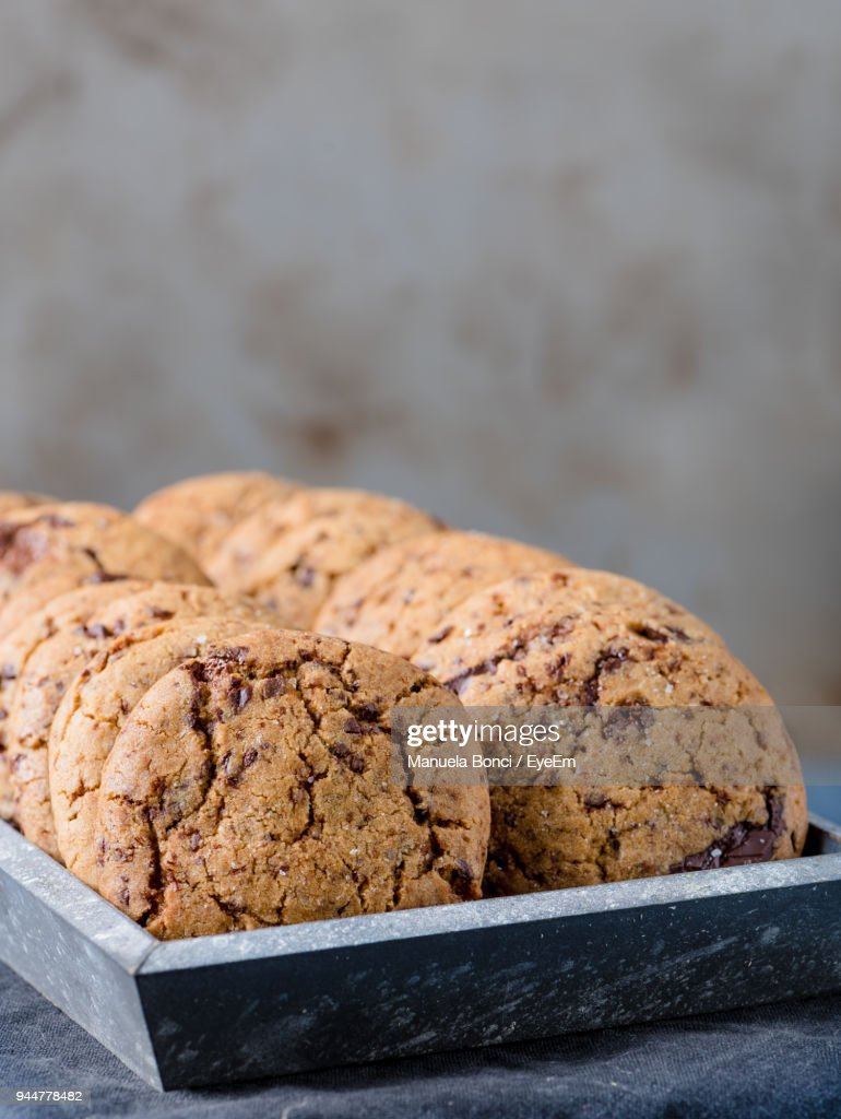 Close-Up Of Cookies In Tray On Table : Stock Photo