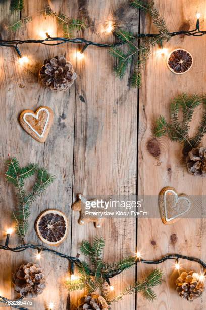 Close-Up Of Cookies On Decorated Table During Christmas