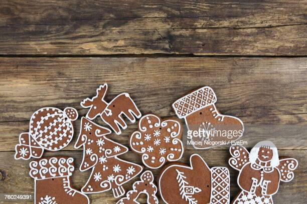 Close-Up Of Cookies On Wooden Surface