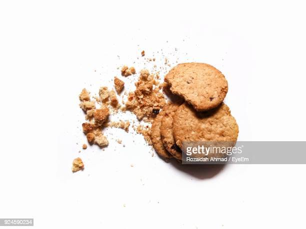 Close-Up Of Cookies Over White Background