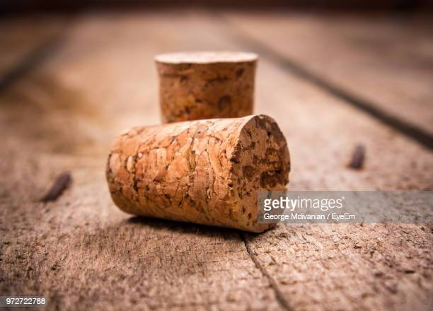close-up of cork on table - cork material stock pictures, royalty-free photos & images