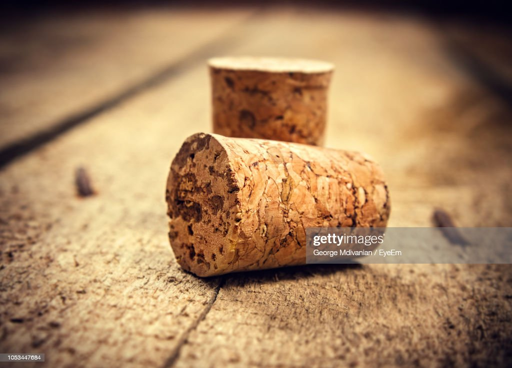Close-Up Of Cork Stopper On Table : Stock Photo