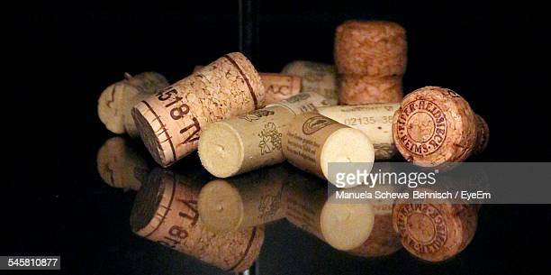 close-up of corks on table - wine cork stock photos and pictures
