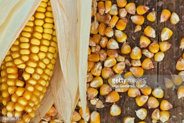 Close-Up Of Corn Kernel On Table