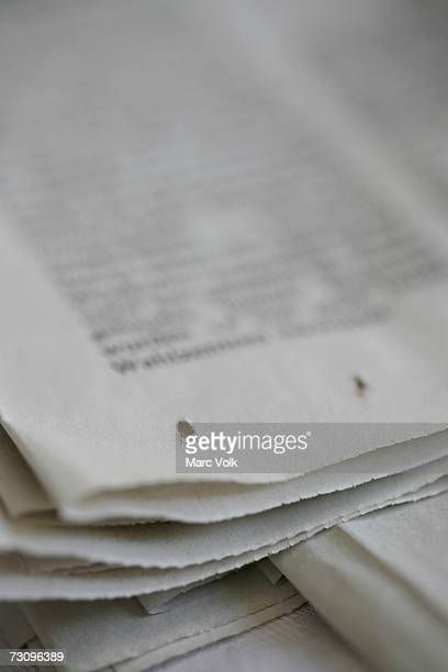 Close-up of corner of newspaper