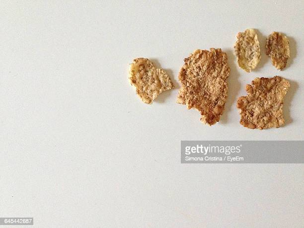 Close-Up Of Cornflakes On White Background