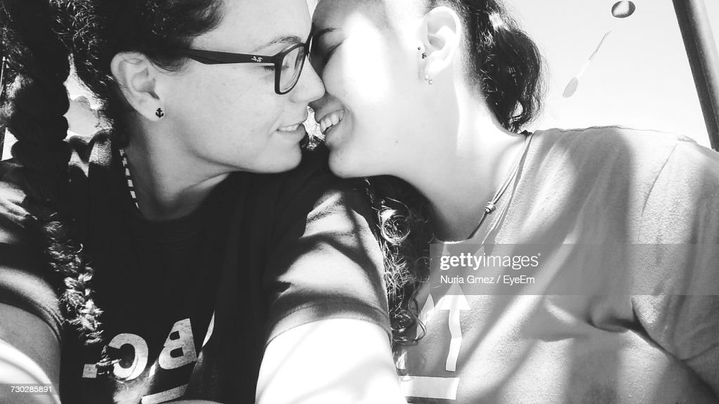 Black and white lesbians making out