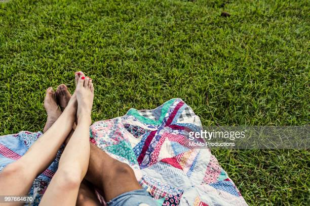 closeup of couples feet on grass at picnic - barefoot black men stock pictures, royalty-free photos & images