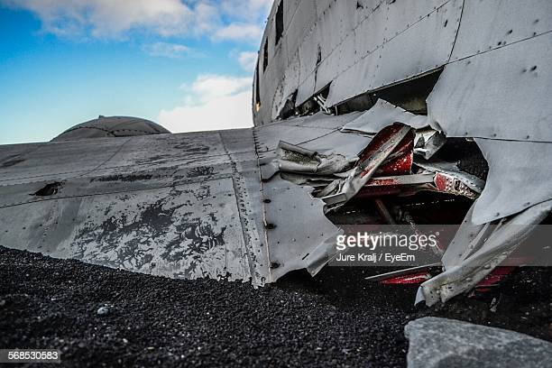 close-up of crashed airplane - airplane crash stock pictures, royalty-free photos & images