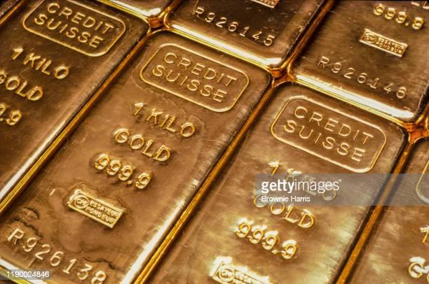 Closeup of Credit Suisse 1 Kilo gold bars New York New York 1982