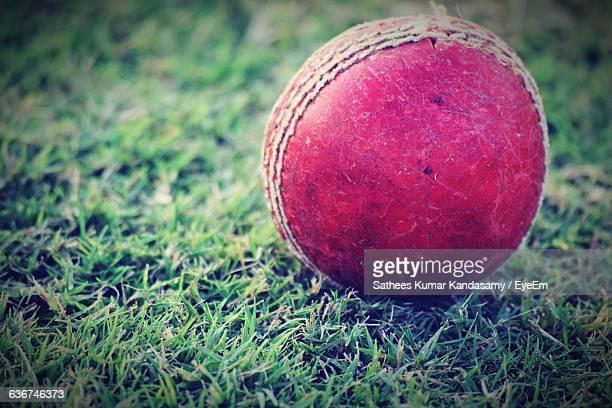 Close-Up Of Cricket Ball On Field