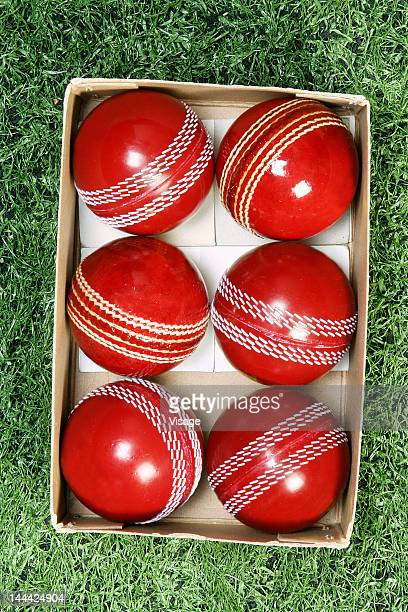 Close-up of Cricket balls in a box
