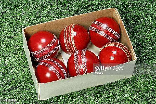 close-up of cricket balls - cricket ball stock pictures, royalty-free photos & images