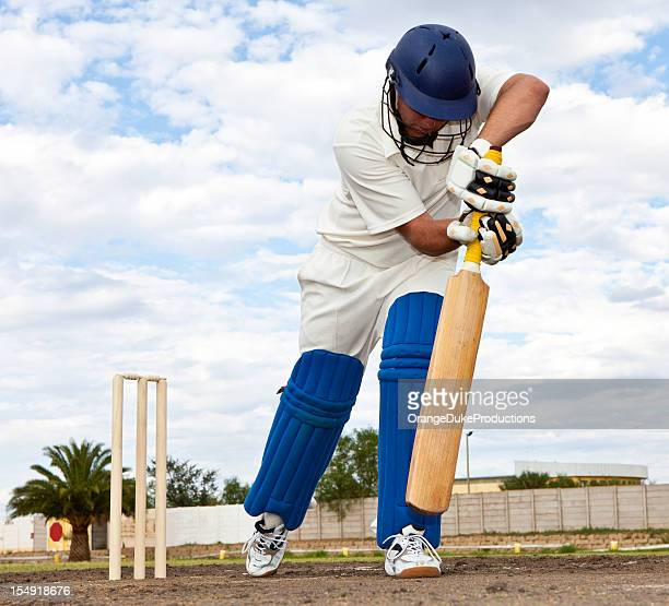 Close-up of Cricket player getting ready to strike